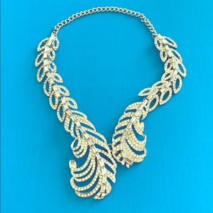 Jewelry - NWOT STATEMENT CZ Feather Necklace